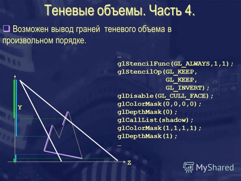 Теневые объемы. Часть 4. Возможен вывод граней теневого объема в произвольном порядке. Z Y … glStencilFunc(GL_ALWAYS,1,1); glStencilOp(GL_KEEP, GL_KEEP, GL_INVERT); glDisable(GL_CULL_FACE); glColorMask(0,0,0,0); glDepthMask(0); glCallList(shadow); gl