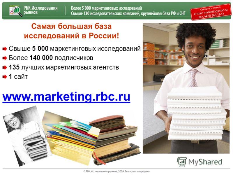 Самая большая база исследований в России! Свыше 5 000 маркетинговых исследований Более 140 000 подписчиков 135 лучших маркетинговых агентств 1 сайт www.marketing.rbc.ru