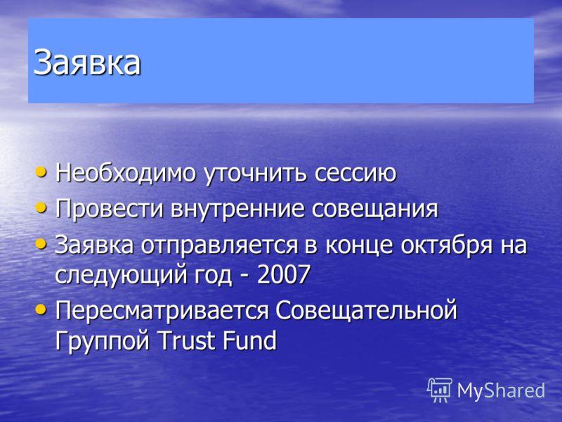 Заявка Необходимо уточнить сессию Необходимо уточнить сессию Провести внутренние совещания Провести внутренние совещания Заявка отправляется в конце октября на следующий год - 2007 Заявка отправляется в конце октября на следующий год - 2007 Пересматр