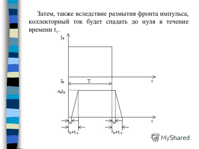Затем, также вследствие размытия фронта импульса, коллекторный ток будет спадать до нуля в течение времени t 1.