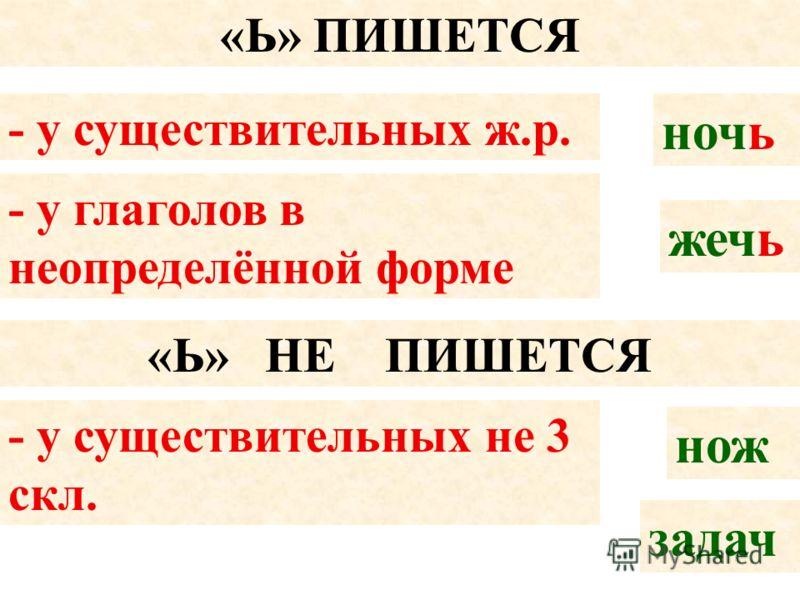 «Ь» ПИШЕТСЯ - у существительных ж.р. ночь - у глаголов в неопределённой форме жечь «Ь» НЕ ПИШЕТСЯ - у существительных не 3 скл. нож задач