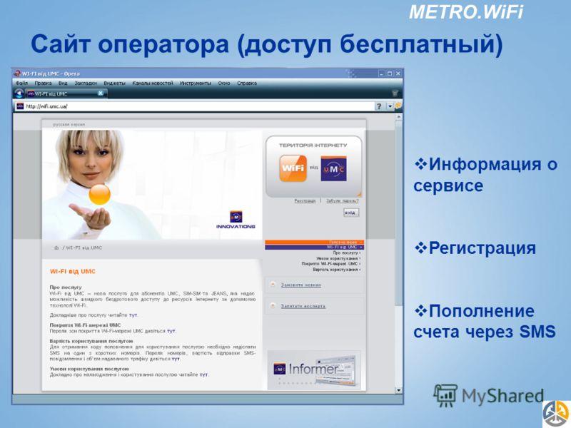 METRO.WiFi Сайт оператора (доступ бесплатный) Информация о сервисе Регистрация Пополнение счета через SMS