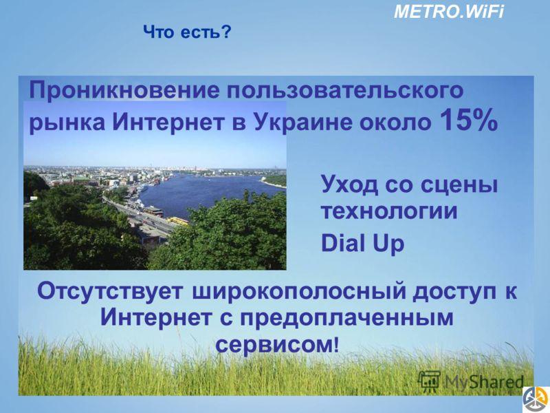 METRO.WiFi Что есть? Уход со сцены технологии Dial Up Отсутствует широкополосный доступ к Интернет с предоплаченным сервисом ! Проникновение пользовательского рынка Интернет в Украине около 15%