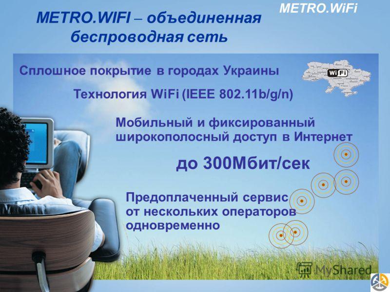 METRO.WiFi METRO.WIFI – объединенная беспроводная сеть Предоплаченный сервис от нескольких операторов одновременно Сплошное покрытие в городах Украины Технология WiFi (IEEE 802.11b/g/n) Мобильный и фиксированный широкополосный доступ в Интернет до 30