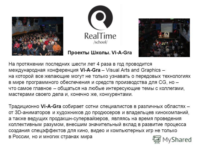 На протяжении последних шести лет 4 раза в год проводится международная конференция Vi-A-Gra – Visual Arts and Graphics – на которой все желающие могут не только узнавать о передовых технологиях в мире программного обеспечения и средств производства
