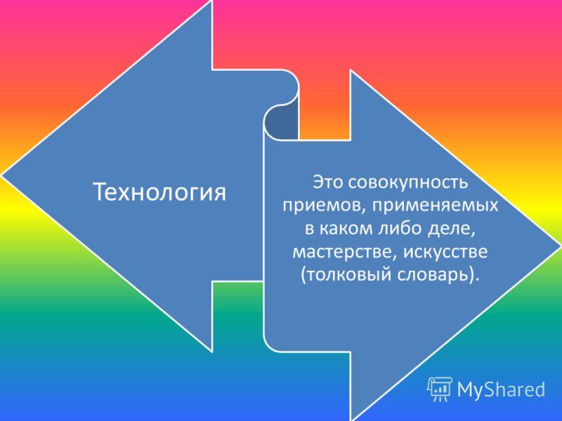 Технология Это совокупность приемов, применяемых в каком либо деле, мастерстве, искусстве (толковый словарь).