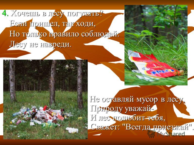 4. Хочешь в лесу погулять? Если пришел, так ходи, Но только правило соблюдай: Лесу не навреди. Не оставляй мусор в лесу, Природу уважай- И лес полюбит тебя, Скажет: