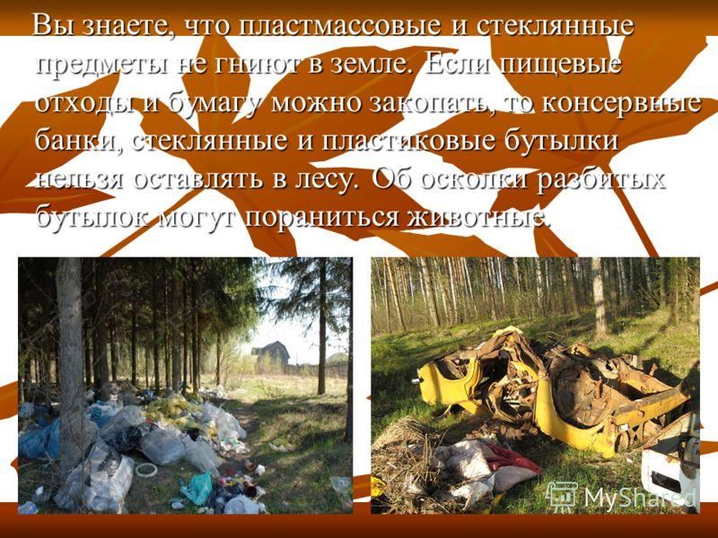 Вы знаете, что пластмассовые и стеклянные предметы не гниют в земле. Если пищевые отходы и бумагу можно закопать, то консервные банки, стеклянные и пластиковые бутылки нельзя оставлять в лесу. Об осколки разбитых бутылок могут пораниться животные. Вы
