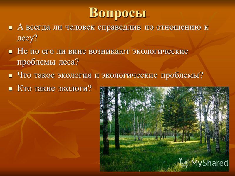 Вопросы А всегда ли человек справедлив по отношению к лесу? А всегда ли человек справедлив по отношению к лесу? Не по его ли вине возникают экологические проблемы леса? Не по его ли вине возникают экологические проблемы леса? Что такое экология и эко