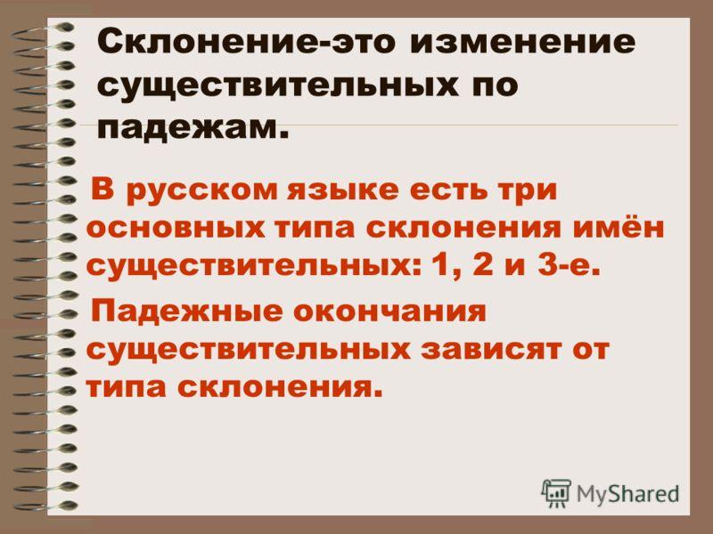 Склонение-это изменение существительных по падежам. В русском языке есть три основных типа склонения имён существительных: 1, 2 и 3-е. Падежные окончания существительных зависят от типа склонения.