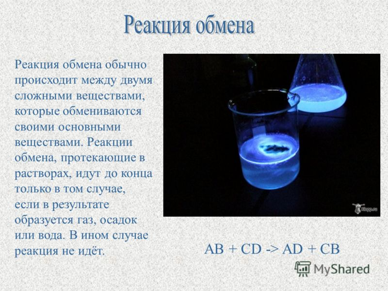 Реакция обмена обычно происходит между двумя сложными веществами, которые обмениваются своими основными веществами. Реакции обмена, протекающие в растворах, идут до конца только в том случае, если в результате образуется газ, осадок или вода. В ином