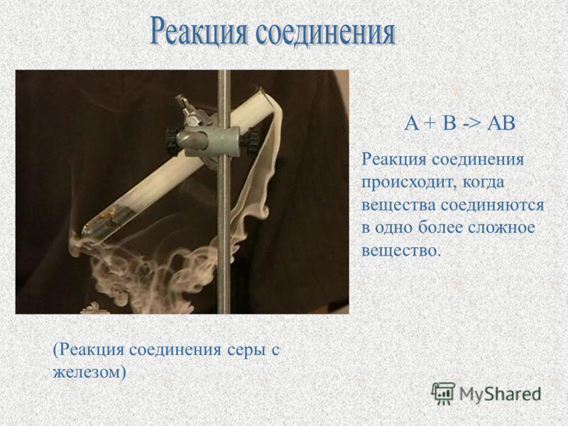 A + B -> AB Реакция соединения происходит, когда вещества соединяются в одно более сложное вещество. (Реакция соединения серы с железом)