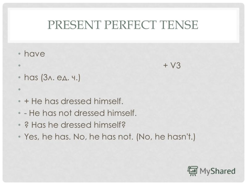 PRESENT PERFECT TENSE have + V3 has (3л. ед. ч.) + He has dressed himself. - He has not dressed himself. ? Has he dressed himself? Yes, he has. No, he has not. (No, he hasn't.)