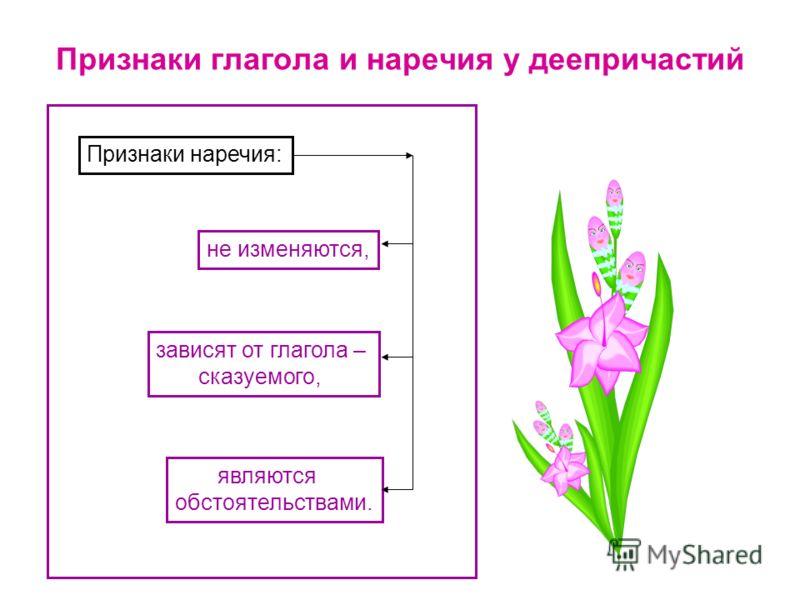 Признаки глагола и наречия у деепричастий Признаки наречия: не изменяются, зависят от глагола – сказуемого, являются обстоятельствами.
