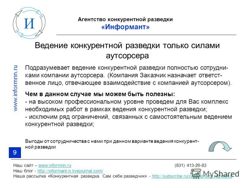 Агентство конкурентной разведки «Информант» Наш сайт – www.informnn.ru (831) 413-26-83www.informnn.ru Наш блог - http://informant-n.livejournal.com/http://informant-n.livejournal.com/ Наша рассылка «Конкурентная разведка. Сам себе разведчик» - http:/