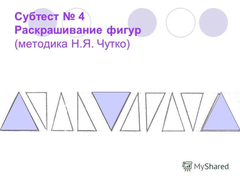 Субтест 4 Раскрашивание фигур (методика Н.Я. Чутко)