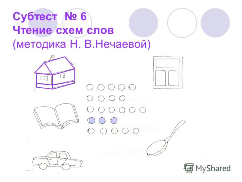 Субтест 6 Чтение схем слов (методика Н. В.Нечаевой)