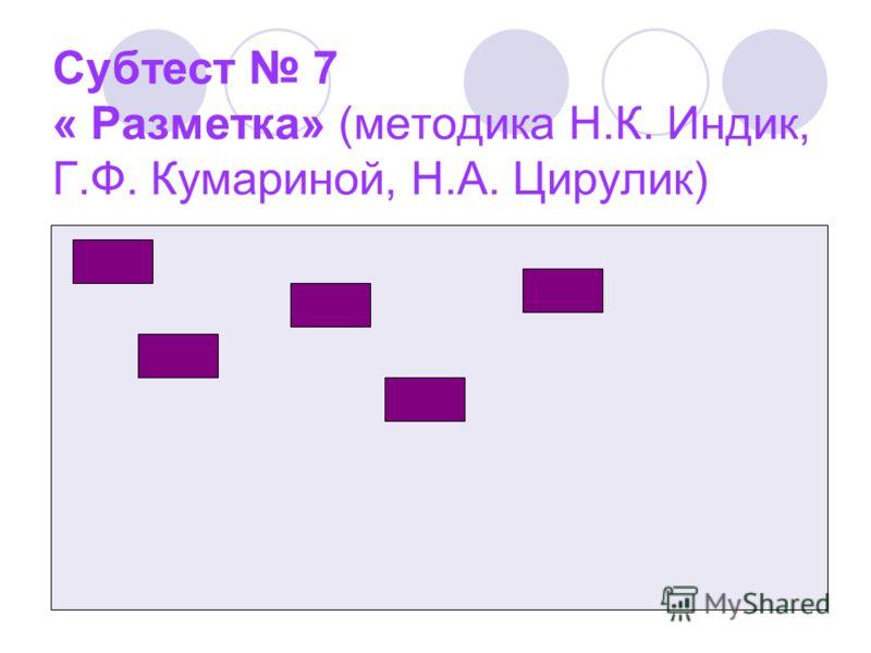 Субтест 7 « Разметка» (методика Н.К. Индик, Г.Ф. Кумариной, Н.А. Цирулик)