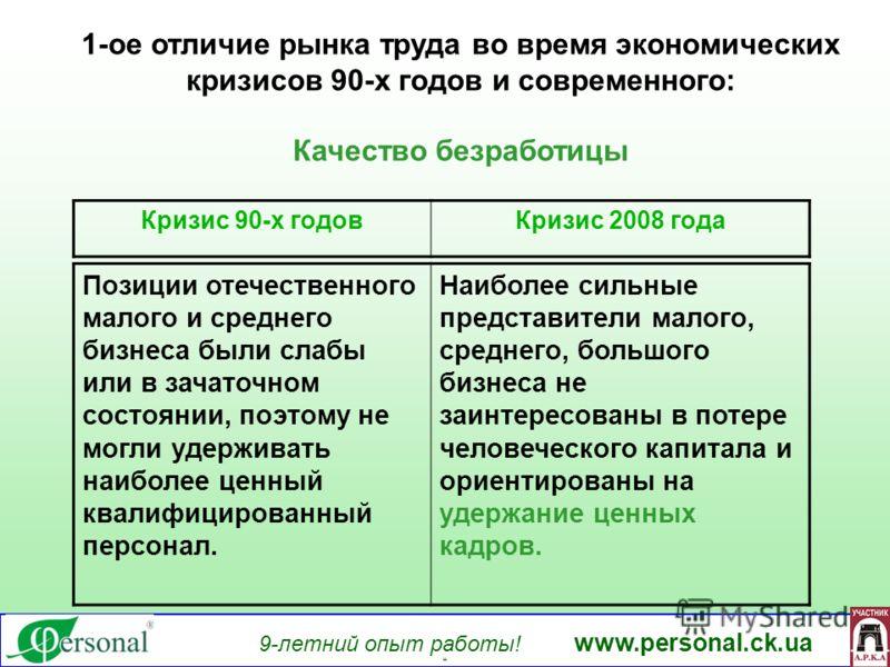 9-летний опыт работы! www.personal.ck.ua яя 1-ое отличие рынка труда во время экономических кризисов 90-х годов и современного: Качество безработицы Позиции отечественного малого и среднего бизнеса были слабы или в зачаточном состоянии, поэтому не мо