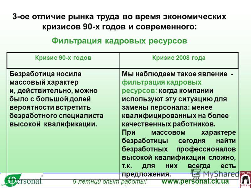 9-летний опыт работы! www.personal.ck.ua яя 3-ое отличие рынка труда во время экономических кризисов 90-х годов и современного: Фильтрация кадровых ресурсов Безработица носила массовый характер и, действительно, можно было с большой долей вероятности