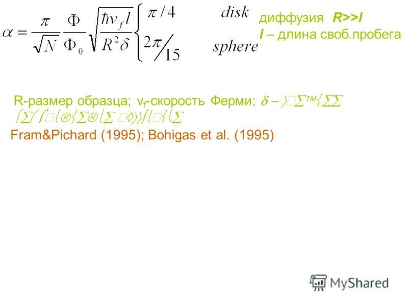 диффузия R>>l l – длина своб.пробега R-размер образца; v f -скорость Ферми; Fram&Pichard (1995); Bohigas et al. (1995)