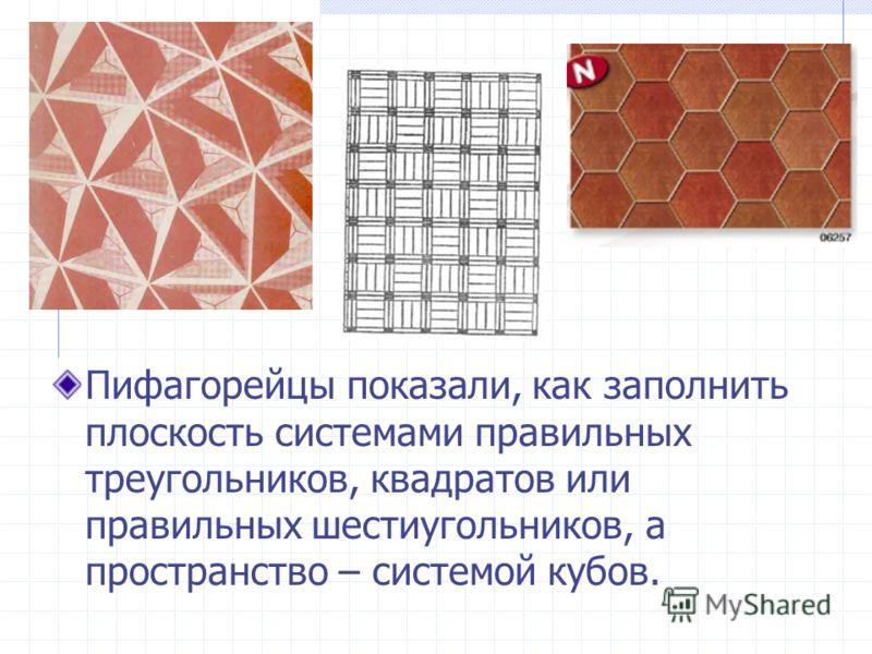 Пифагорейцы показали, как заполнить плоскость системами правильных треугольников, квадратов или правильных шестиугольников, а пространство – системой кубов.