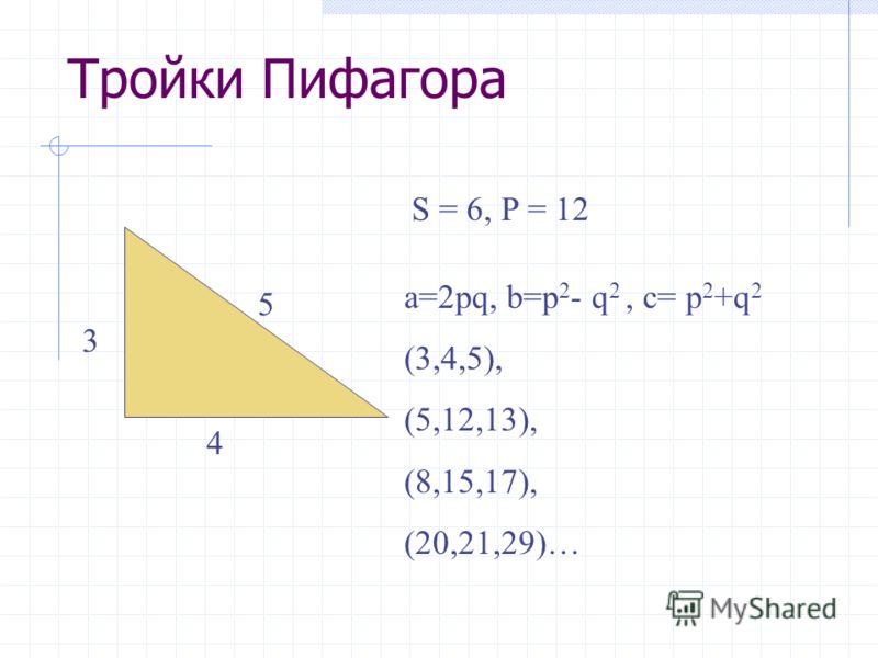 Тройки Пифагора 3 4 5 S = 6, P = 12 a=2pq, b=p 2 - q 2, c= p 2 +q 2 (3,4,5), (5,12,13), (8,15,17), (20,21,29)…