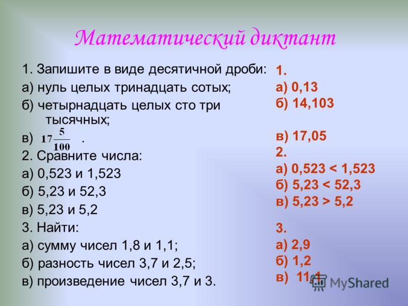 Математический диктант 1. Запишите в виде десятичной дроби: а) нуль целых тринадцать сотых; б) четырнадцать целых сто три тысячных; в). 2. Сравните числа: а) 0,523 и 1,523 б) 5,23 и 52,3 в) 5,23 и 5,2 3. Найти: а) сумму чисел 1,8 и 1,1; б) разность ч