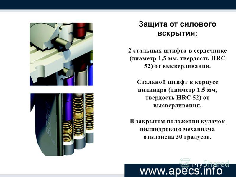 Защита от силового вскрытия: 2 стальных штифта в сердечнике (диаметр 1,5 мм, твердость HRC 52) от высверливания. Стальной штифт в корпусе цилиндра (диаметр 1,5 мм, твердость HRC 52) от высверливания. В закрытом положении кулачок цилиндрового механизм
