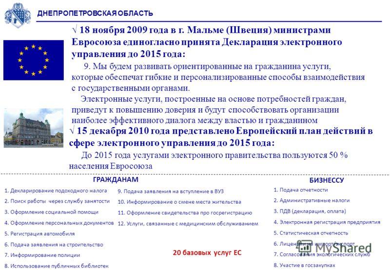 ДНЕПРОПЕТРОВСКАЯ ОБЛАСТЬ 18 ноября 2009 года в г. Мальме (Швеция) министрами Евросоюза единогласно принята Декларация электронного управления до 2015 года: 9. Мы будем развивать ориентированные на гражданина услуги, которые обеспечат гибкие и персона