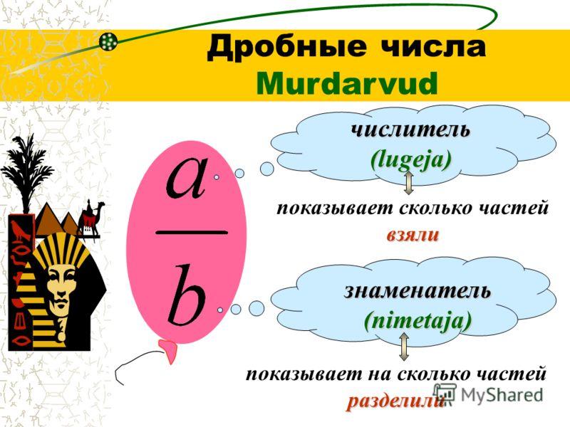 Дробные числа Murdarvud числитель (lugeja) знаменатель (nimetaja) взяли показывает сколько частей взяли разделили показывает на сколько частей разделили