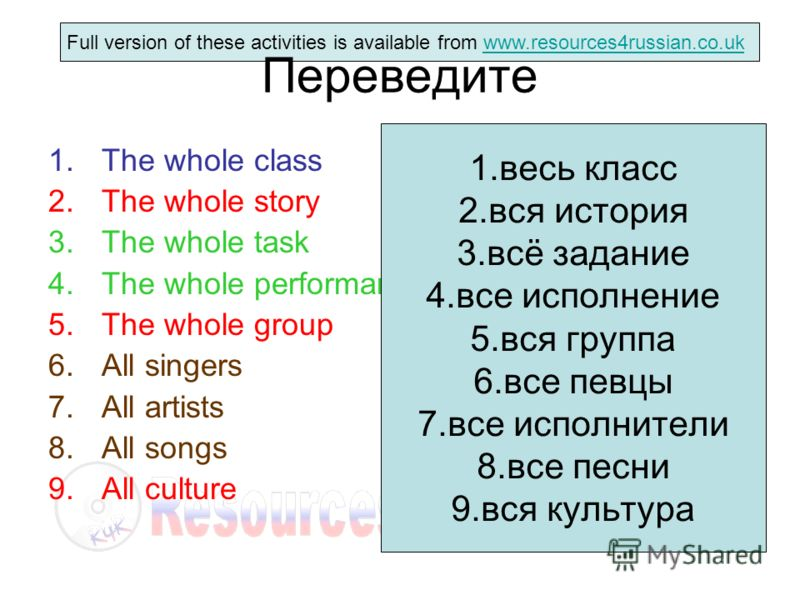 Full version of these activities is available from www.resources4russian.co.ukwww.resources4russian.co.uk Переведите 1.The whole class 2.The whole story 3.The whole task 4.The whole performance 5.The whole group 6.All singers 7.All artists 8.All song