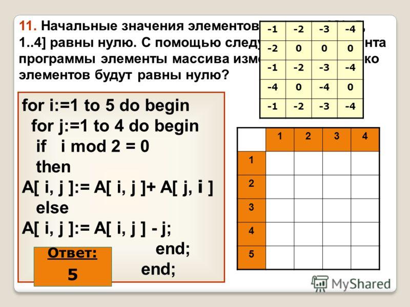 11. Начальные значения элементов массива A[1..5, 1..4] равны нулю. С помощью следующего фрагмента программы элементы массива изменяются. Сколько элементов будут равны нулю? for i:=1 to 5 do begin for j:=1 to 4 do begin if i mod 2 = 0 then A[ i, j ]:=