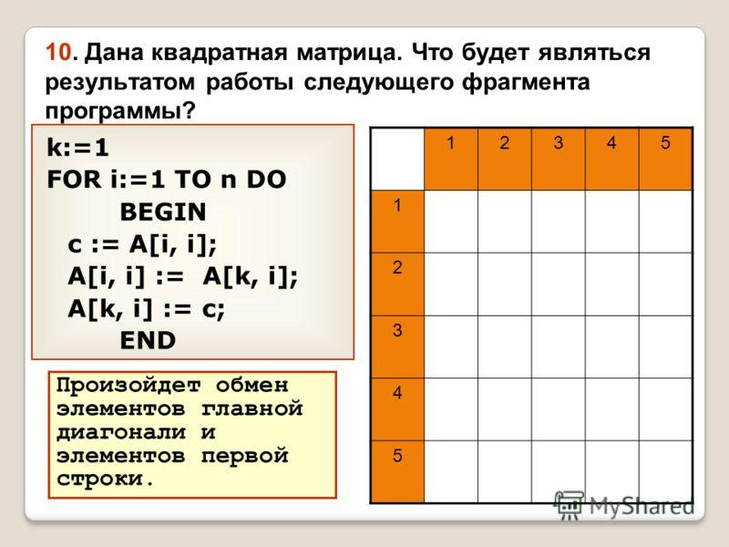 10. Дана квадратная матрица. Что будет являться результатом работы следующего фрагмента программы? k:=1 FOR i:=1 TO n DO BEGIN c := A[i, i]; A[i, i] := A[k, i]; A[k, i] := c; END 12345 1 2 3 4 5 Произойдет обмен элементов главной диагонали и элементо