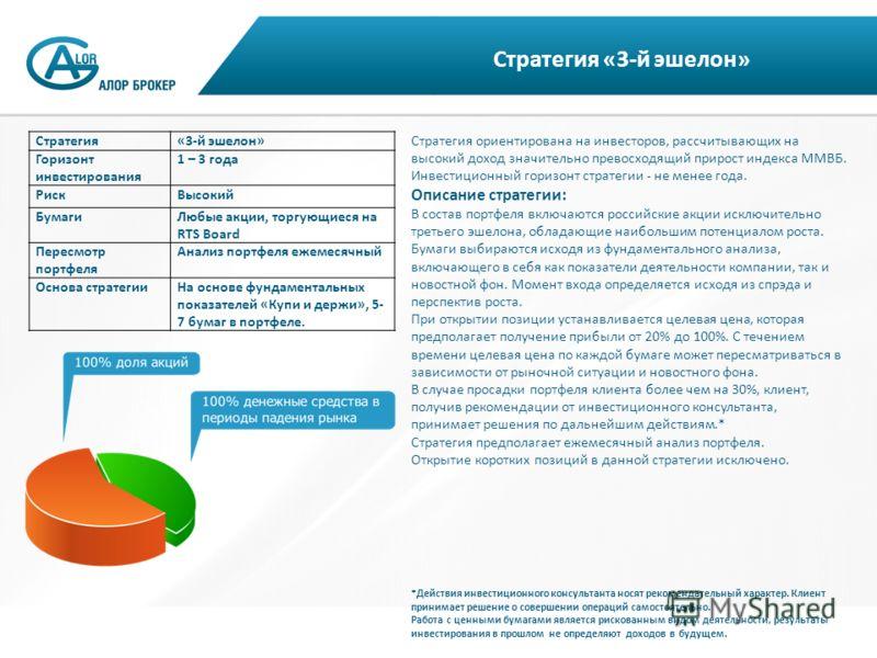 Стратегия «3-й эшелон» Стратегия ориентирована на инвесторов, рассчитывающих на высокий доход значительно превосходящий прирост индекса ММВБ. Инвестиционный горизонт стратегии - не менее года. Описание стратегии: В состав портфеля включаются российск
