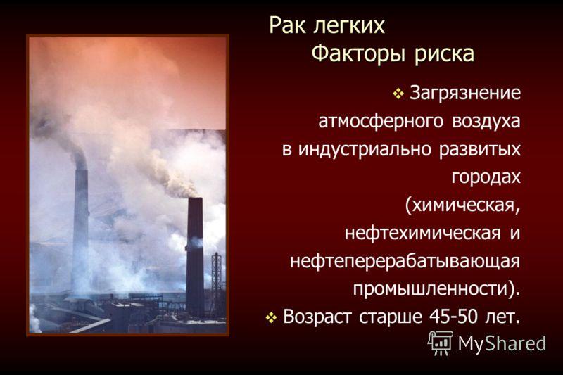 Рак легких Факторы риска Рак легких Факторы риска Загрязнение атмосферного воздуха в индустриально развитых городах (химическая, нефтехимическая и нефтеперерабатывающая промышленности). Возраст старше 45-50 лет.