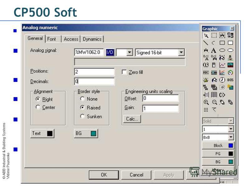 © ABB Industrial & Building Systems Vldimir Psunenko CP500 Soft Стандартное Windows-приложение : Copy, past, selection… Менеджер блоков : все экраны со связями между ними отображаются в одном окне. Стандартное, каскадное или мозаичное отображение Наб