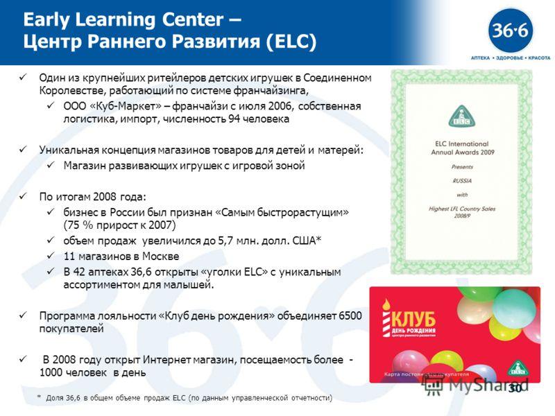 30 Early Learning Center – Центр Раннего Развития (ELC) Один из крупнейших ритейлеров детских игрушек в Соединенном Королевстве, работающий по системе франчайзинга, ООО «Куб-Маркет» – франчайзи с июля 2006, собственная логистика, импорт, численность