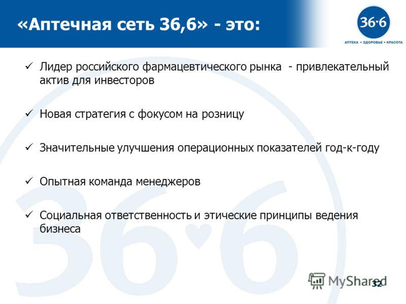 32 «Аптечная сеть 36,6» - это: Лидер российского фармацевтического рынка - привлекательный актив для инвесторов Новая стратегия с фокусом на розницу Значительные улучшения операционных показателей год-к-году Опытная команда менеджеров Социальная отве