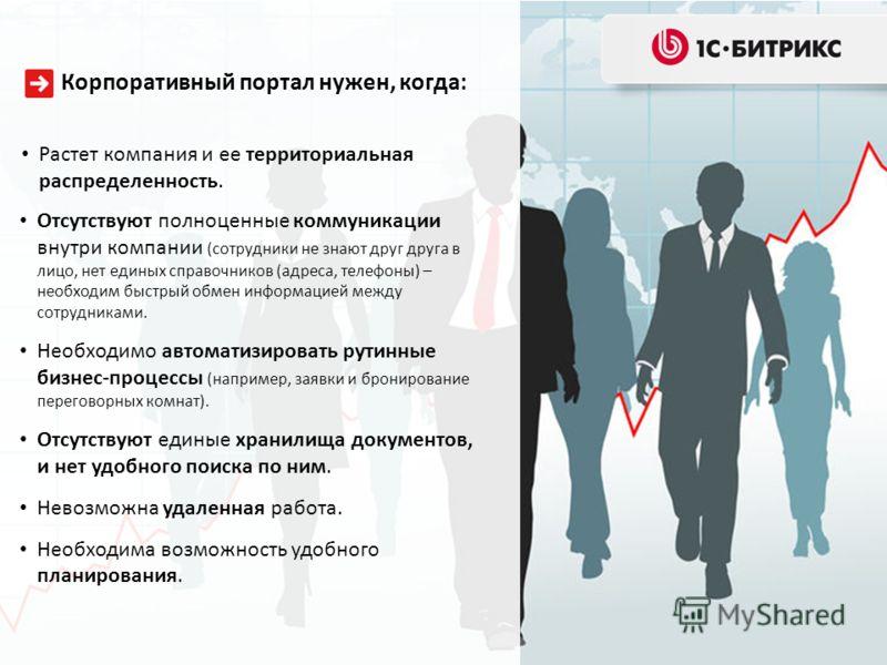 Отсутствуют полноценные коммуникации внутри компании (сотрудники не знают друг друга в лицо, нет единых справочников (адреса, телефоны) – необходим быстрый обмен информацией между сотрудниками. Необходимо автоматизировать рутинные бизнес-процессы (на