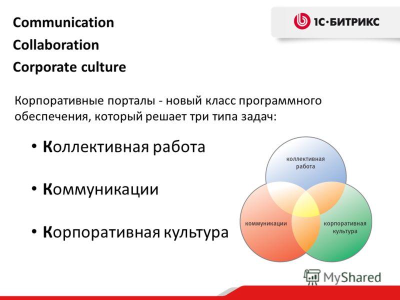 Communication Collaboration Corporate culture Коллективная работа Коммуникации Корпоративная культура Корпоративные порталы - новый класс программного обеспечения, который решает три типа задач: