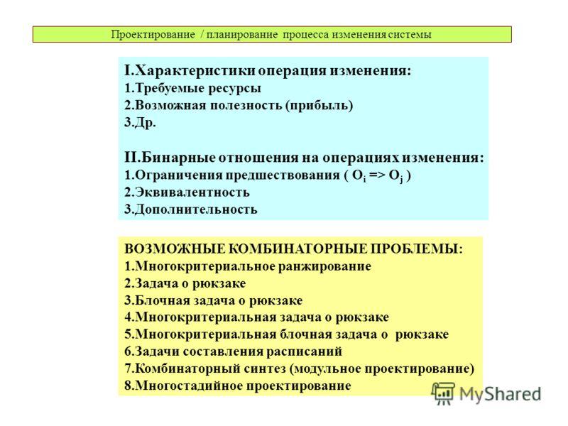 Проектирование / планирование процесса изменения системы I.Характеристики операция изменения: 1.Требуемые ресурсы 2.Возможная полезность (прибыль) 3.Др. II.Бинарные отношения на операциях изменения: 1.Ограничения предшествования ( O i => O j ) 2.Экви