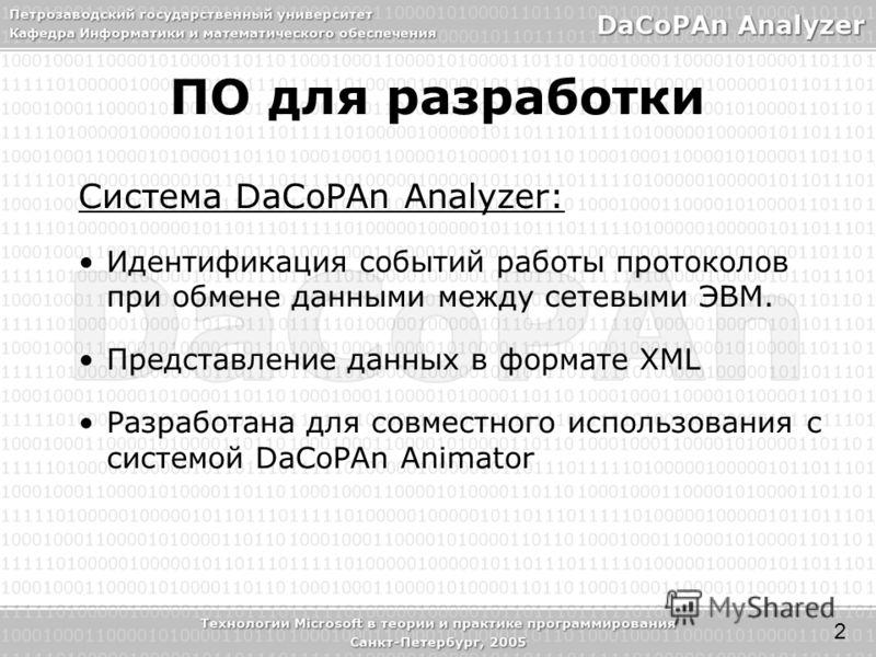 Система DaCoPAn Analyzer: Идентификация событий работы протоколов при обмене данными между сетевыми ЭВМ. Представление данных в формате XML Разработана для совместного использования с системой DaCoPAn Animator ПО для разработки 2