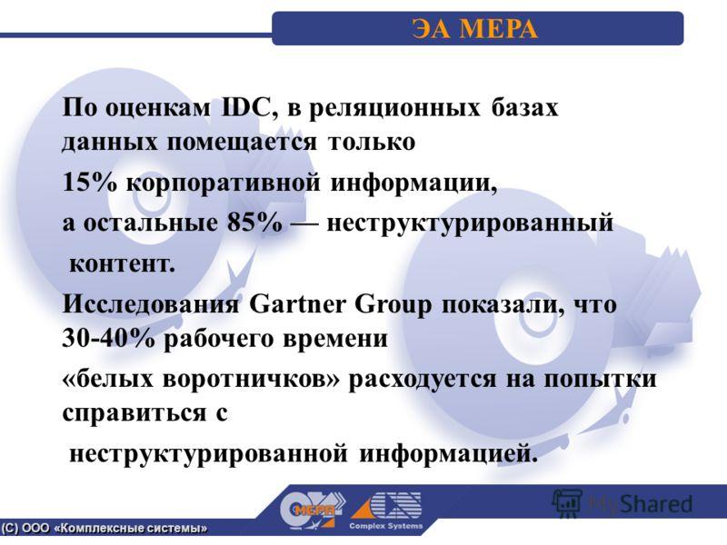 (С) ООО «Комплексные системы» ЭА МЕРА По оценкам IDC, в реляционных базах данных помещается только 15% корпоративной информации, а остальные 85% неструктурированный контент. Исследования Gartner Group показали, что 30-40% рабочего времени «белых воро