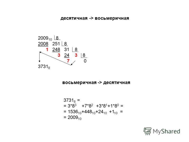2009 10 8 2008 251 8 1 248 31 8 3 24 3 8 7 0 3731 8 десятичная -> восьмеричная 3731 8 = = 3*8 3 +7*8 2 +3*8 1 +1*8 0 = = 1536 10 +448 10 +24 10 +1 10 = = 2009 10 восьмеричная -> десятичная
