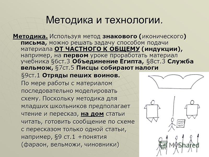 Методика и технологии. Методика. Используя метод знакового (иконического) письма, можно решать задачу способом подачи материала ОТ ЧАСТНОГО К ОБЩЕМУ (индукции), например, на первом уроке проработать материал учебника §6ст.3 Объединение Египта, §8ст.3