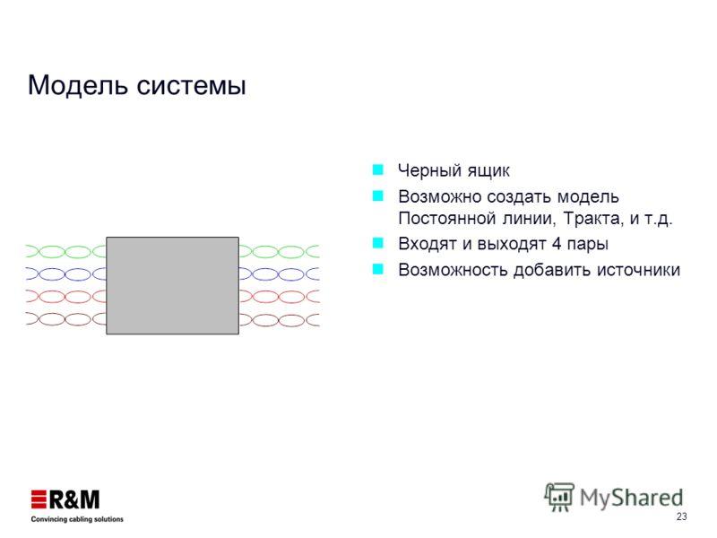 22 Децибел Относительная единица соотношения между двумя физическими величинами dB = 20 log ( V 1 / V 2 ) 10 dB = 20 log ( I 1 /I 2 ) dB = 10 log ( P 1 / P 2 ) Example: Xmitted 1 mW Received 20 uW 10 dB = 10 log ( 20 / 1000) 10 = -16.9..db Уменьшение