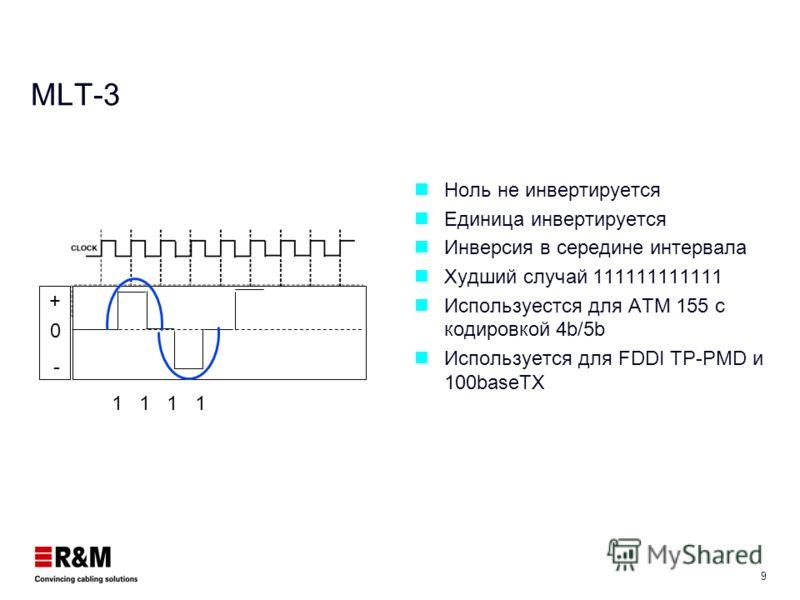 8 NRZ Код Таймер: обеспечивает синхронизацию при передаче Самая простая схема кодирования Уровень сигнала изменяется только при изменении значения данных 2 Бит = 1 Символ Худшая последовательность: 1010101 Для 10 Base-T: 5 MHz центральная частота, 10