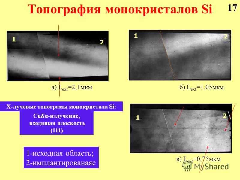 Топография монокристалов Si а) L ext =2,1мкм б) L ext =1,05мкм в) L ext =0,75мкм Х-лучевые топограмы монокристала Si: CuKα-излучение, входящая плоскость (111) 1 1 1 2 2 2 1-исходная область; 2-имплантированаяс17