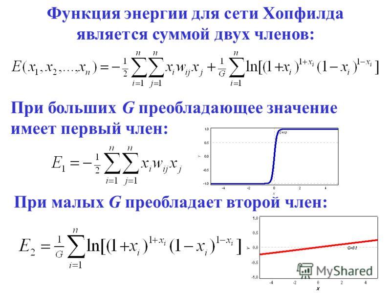 5 Функция энергии для сети Хопфилда является суммой двух членов: При больших G преобладающее значение имеет первый член: При малых G преобладает второй член: